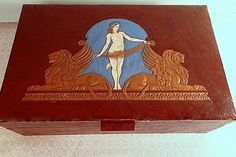 Vintage Art Nouveau Vanity Box Brown Leather by mydiminutivegalaxy