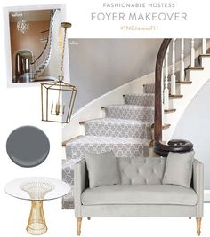 The #TNChateauFH{ie. our new home}is really starting to come together… here is a snapshot of the modernized foyer!! We took down the paisley wallpaper in place ofBenjamin Moore Ashland Slate 1608Satin Impervo, updated the stair runner to this beautiful grey... READ MORE