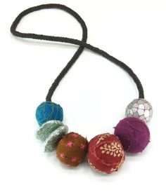 Big colorful casual upcycled bead necklace by greendivadesigns