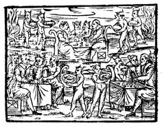 Malleus Maleficarum, Medieval Manual for the Witch Hunters: Depiction of a witches Sabbath, from the Compendium Maleficarum by Francesco Maria Guazzo, Milan, 1608