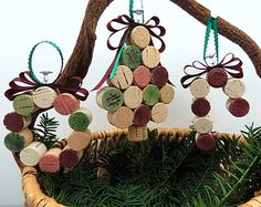 Christmas Tree Ornaments made with Wine Corks includes a Wreath, Candy Cane and Mini Tree