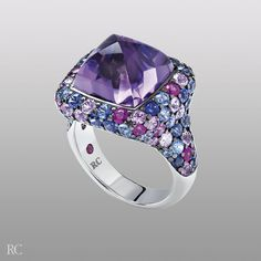 Fantasia ring. Ring in white gold with blue sapphires, pink sapphires and amethyst - Roberto Coin