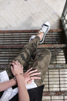 Atlantic Pacific Is Wearing Camo Trousers By Zara And Shoes From Converse