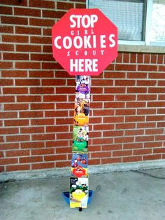 I made this for our cookie booth. All needed is poster board, cookie boxes, broom handle and we used dust pan with handle then duct tape the boom handle to it, letter stickers and tape. Slid the boxes over the handles then used tape on back to help stabilize and then taped stop sign to poles also. #girlscoutcookiebooths Girl Scout Songs, Girl Scout Leader, Girl Scout Troop, Girl Scout Crafts, Boy Scouts, Scout Mom, Daisy Girl Scouts, Girl Scout Cookie Sales, Girl Scout Cookies