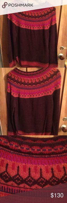 Soft alpaca wool sweater by novica Novica multi-colored alpaca sweater. Size L plum paradise from Peru. NWOT. Light weight and beautiful Novica Sweaters Cowl & Turtlenecks