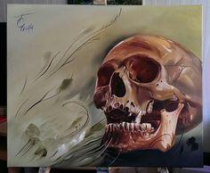 Skull, oil painting on canvas.