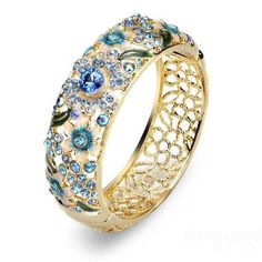 Cloisonné 18K Gold Plated Rhinestone Hollow Flower Leaf Wide Bracelet at  Banggood Gold Plated Bangles 1caaa447fba3b