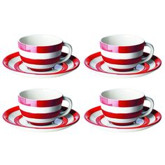 T.G. Green Cornishware Red- Coffee cups