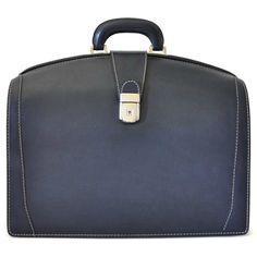 Pratesi Brunelleschi Italian Tan Leather Doctor Briefcase, Blue BBL120/B
