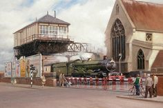 Railway & Landscape Paintings by Rob Rowland GRA. Gloucester - The Cornishman at Barton Street Junction Level Crossing. Train Pictures, Old Pictures, Dartmouth Castle, Gloucester England, Steam Art, Disused Stations, Nostalgic Art, Rail Transport, Train Art