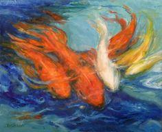 Koi in Pool Oil Painting Fish Animal Semi-Abstract Art, painting by artist Debra Sisson