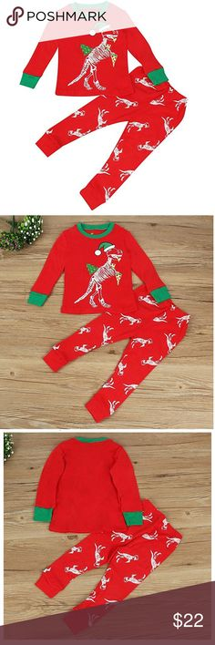 🎄 Christmas Unisex 3-4 T Dinosaur 2 piece Outfit Adorable kids Christmas Outfit with Dinosaur 🦖 Print all over on pants and on front of the top Soft premium quality material  Red green white colors  Big hit with Dino fans this holiday season Full sleeves T Shirt  PJ bottoms / Pants Age for suggestion note measurements for sizing 3 - 4 years Matching Sets