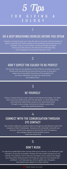 Infographic: 5 Tips for Giving a Eulogy to Help Keep You Calm, Confident & Poised. Funeral Speech, Funeral Eulogy, Writing A Eulogy, Funeral Etiquette, When Someone Dies, Funeral Planning, Funeral Ideas, Funeral Memorial, Memorial Tattoos