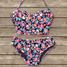 Bustier Bikini  Vintage Style Pinup Swimwear In by Bikiniboo, $47.00, women's summer swimsuit fashion