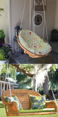 Recycled Wicker Chair or Sofa Swing