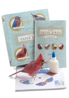 Beautiful Paper Birds. Though you may imagine a bluebird on your bedside table or a goldfinch perched amidst your decor as stuff of fairytales, this set of 16 paper birds proves that dreams can come true! #multi #modcloth