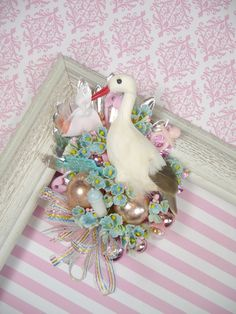 Baby Shower Corsage Stork Special Delivery Vintage Theme Pink Blue Boy or Girl Decoration. $30.00, via Etsy.