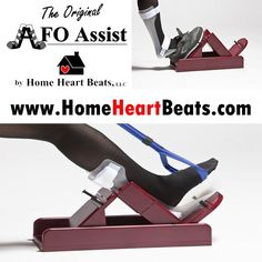 The Original AFO Assist is an adaptive donning aid for an ankle foot orthosis and shoe.