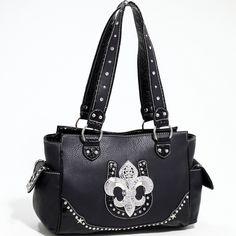 Designer INspired Western Fashion Handbag w/ Rhinestones & Fleur De Lis - Black  $51.99 + free shipping!  wantedwardrobe.com  #handbags #fashion
