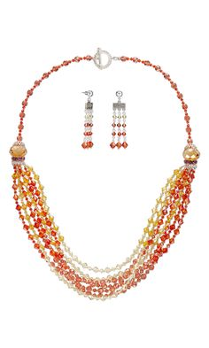 Jewelry Design - Multi-Strand Necklace and Earring Set with Swarovski Crystal - Fire Mountain Gems and Beads