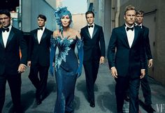 Cher and a troupe of handsome escorts on Stage 15 at Sony Pictures Studios, Culver City, California. Photograph by Norman Jean Roy.