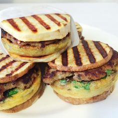 Move over, McMuffin! Egg and vegetable patty, savory turkey sausage, all inside sweet potato rounds. My whole family loves these. I like to keep some in the freezer and then all you have to do is microwave in a paper towel (or toast in a toaster oven, panini maker, or George Foreman grill) for a couple minutes and you have a delicious breakfast! For more #whole30recipes and #whole30 tips, check out my feed @healthfest. xo -AJ  SAVORY TURKEY SAUSAGE Ingredients for about 10 patties: - 1/2 lb…