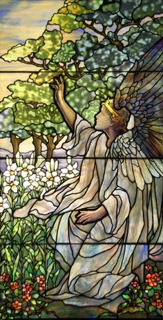 Beautiful stained glass of an angel