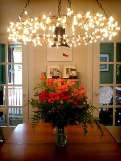 DIY chandelier. This would be fantastic outside.