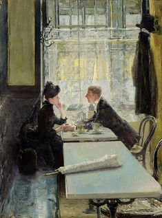 Gotthardt Kuehl (1850-1915), Lovers in a Cafe, private collection, oil on panel #café