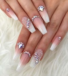 50 Best Ombre Nails ARt Designs ideas and images for 2019 Part 9 Nails diamond nails Long Nail Designs, Ombre Nail Designs, Beautiful Nail Designs, Acrylic Nail Designs, Nail Art Designs, Diamond Nail Designs, Nail Designs Bling, Simple Designs, Glam Nails