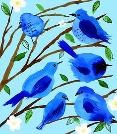 Blue Birds | Margaret Berg Art & Illustration