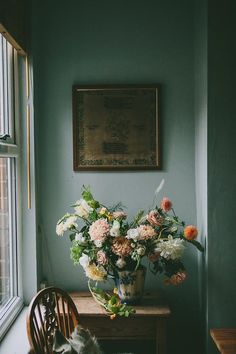 My No-Fail Paint Color Failed - What Went Wrong? - laurel home | via Design Sponge, the lovely home of flower arranger extraordinaire, Anna Potter | color similar to Benjamin Moore Van | aCourtland Blue hc-145 | a dusty blue-green | teal walls | sophistic