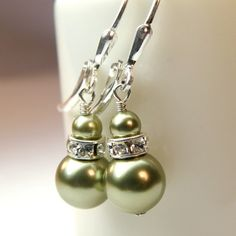 Green Pearl, Sterling Silver, Drop, Handmade Jewelry