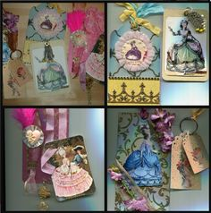 Set of 3 Marie Antoinette tags - heavily embellished and decorated. Available at https://www.zibbet.com/enchanted-revelries/marie-antoinette-tag-set-3-elaborate-and-lavish-and-luxe