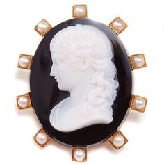 A gorgeous antique Italian cameo brooch, with #onyx and #pearls circa 1885.  Set in 18K yellow #gold  #jewelry #cameo