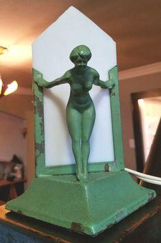 Rare Vintage Art Deco/Nouveau Green Nude Lamp Frankart Era ◇Works Great◇ #ArtDeco