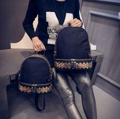 Rebite de Metal decoração pequena mochila de nylon moda beleza bonito de alta qualidade mulheres sacos de sacos de viagem em Mochilas de Bolsas e Malas no AliExpress.com | Alibaba Group