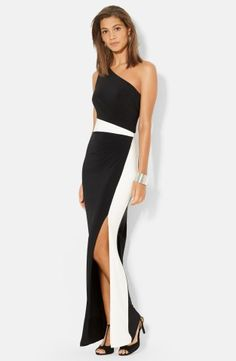 """A striking mix of black and white lends dramatic impact to a supple jersey gown with one-shoulder styling. The color-blocked panels visually shape an hourglass silhouette and a side slit adds leg-baring allure.  * 60"""" length (size 10).  * Slips on over head.  * Fully lined.  * 95% polyester, 5% elastane.  * Machine wash, line dry.  * By Lauren Ralph Lauren; imported.  * Available online only. Watch the video:Dress Fit FundamentalsLearn More:The Best Dress for Your Body Type"""