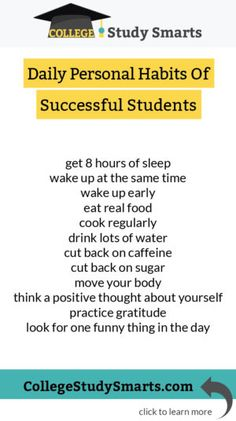 Learn the daily personal habits of successful students College Productivity and Planning online student productivity college productivity planning college semester study. Nutrition Education, Child Nutrition, College Semester, Back To University, University Life, Online College Degrees, Importance Of Time Management, Was Ist Pinterest, School Study Tips