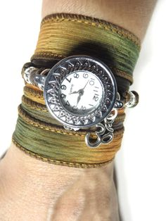 Namaste Silk Wrap Watch Yoga Jewelry Bohemian Wrist Band Watch Wrap Bracelet Yoga Om Wrap Boho Watch Christmas Stocking Stuffer Unique Gift