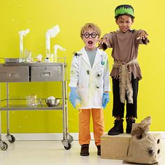 Homemade Halloween Costumes for the Perfect Pair of Kids::  Frankenstein/mad scientist  milk/cookies  tortoise/hare  fisherman/fish  dad/lil' girl all mixed up!  painter/canvas
