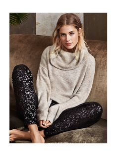 Doutzen Kroes wears Wool-Blend Cowl Neck Sweater & Sequined Pants for H&M Holiday 2015 Lookbook Photoshoot