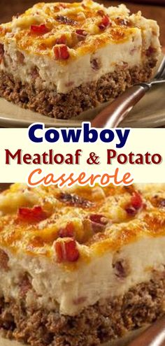 Round up the family for a delicious Cowboy Meatloaf and Potato Casserole! The cowboys and cowgirls will come running for this BBQ cowboy meatloaf dish. Dinner Casserole Recipes, Casserole Dishes, Recipes For Casseroles, Hamburger Potato Casserole, Potatoe Casserole Recipes, Recipes Dinner, Beef Dishes, Food Dishes, Main Dishes