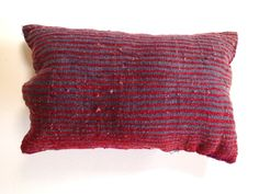 Small Rectangle Embroidered Cushion  This intricate cushion is double sided with a beautiful embroidered pattern on the front and blue and red stripes on the back. Face the cushion either way depending on your mood or style and this will bring an accent of colour to your space. Embroidered Cushions, Red Stripes, Your Space, Throw Pillows, Mood, Colour, Blanket, Face, Pattern