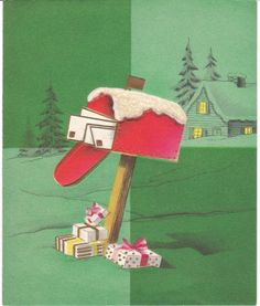 Mid-Century vintage Christmas card - mailbox and gifts