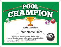 Free printable tennis certificates blank tennis certificate pool certificate pool champion award pool award template pool tablerackpool balls billiards billiard table pool cue basement games yelopaper Gallery