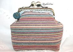 colorful striped coin purse, colorful kiss lock purse, angeline rose purse, unique handmade purse, colorful clutch by AngelineRosePurse on Etsy Handmade Purses, Handmade Gifts, Coin Purse, Kiss, Colorful, Wallet, Trending Outfits, Unique Jewelry, Vintage