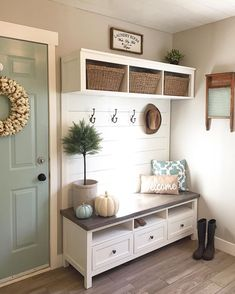 Great entryway idea when you don't have a mudroom.