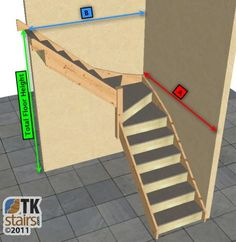 L-shaped stairs for tight space