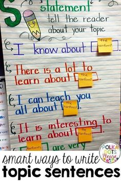 Try using an anchor chart to teach topic sentences. Just change the post-its when you change topics.